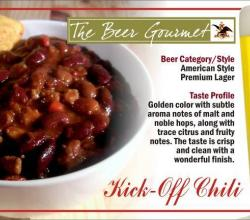 Kick-Off Chili with American Style Premium Lager