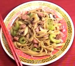 Chinese Stir Fried Noodles With Sweet And Sour Ham
