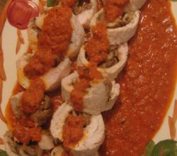 Chicken Mushroom Roll-Ups With Tomato Cumin Sauce