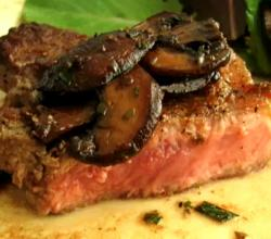New York Strip Steaks with Warm Mushroom Salad