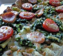 Grilled Sausage and Greens Pizza