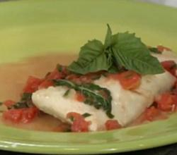 Poached Halibut with Tomato Basil Wine Sauce