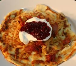 Tasty Potato Pancake, Crispy Bacon and Fresh Apple