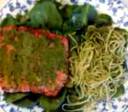 Baked Salmon With Spinach Pesto And Spaghetti