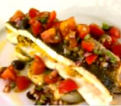 Sea Bass Stuffed with Couscous and Cherry Tomato Salad