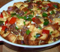 A Breakfast Casserole with Sausage and Peppers