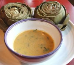 Artichokes With Garlic Saffron Sauce