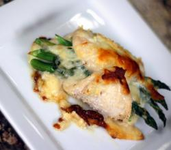 Asparagus Stuffed Chicken Breast - Baked With Mozzarella Cheese And Onion by Rockin Robin