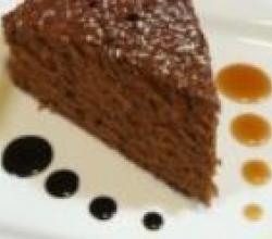 Aztec Chocolate Cake Chocolate Sauce and Caramel Sauce