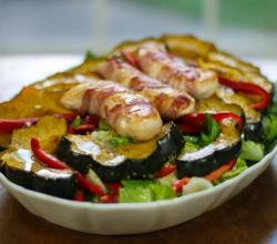 Bacon Wrapped Chicken with Acorn Squash Salad