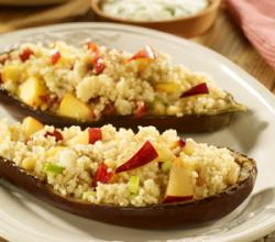 Baked Aubergine Stuffed with Plum & Nectarine Couscous