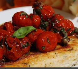Baked Ricotta with Carmelized Cherry Tomato Sauce