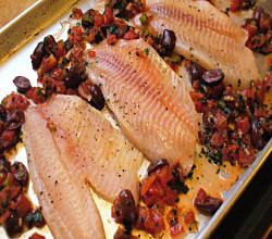 Baked Tilapia with Tomatoes and Olives