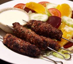 Arabic Beef Kefta with Saffron Yogurt