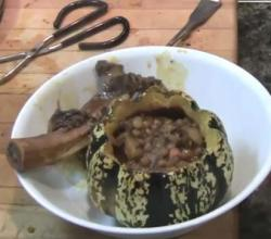 Lentil and Beef Stew in a Hallowed Pumpkin