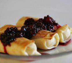 Blueberry Cheese Blintzes with Blueberry Sauce