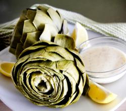 Boiled Artichokes with Lemon Beurre Blanc