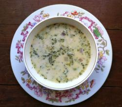 Browned Butter Four-Cheese Broccoli Soup