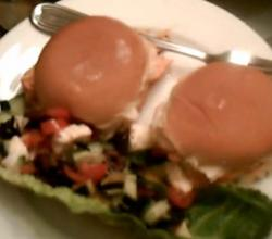 Buffalo Chicken Sliders with Caprese Salad in Lettuce Boats
