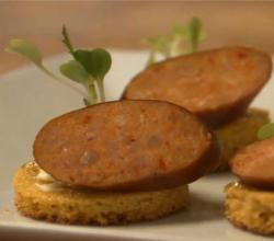 Buttermilk Cornbread Canapes with Mascarpone