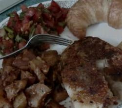 Cajun Spiced, Panfried Tilapia Fish & Potato Chops