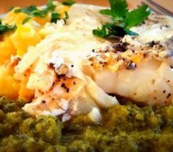 Striped Bass with Roasted Poblano Vinaigrette and Yellow Pepper Grits