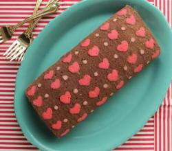 How to Make Patterned Cake Roll-Chocolate Cake Roll filled with Whipped Ganache