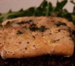 Citronette Dressed Steamed Salmon with Black Rice and Arugula