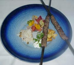 Lamb Kofta With Rice, Labneh And Fattoush