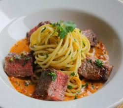 Spaghetti With Rib Eye Steak, Sun Dried Tomato & Mustard Veloute