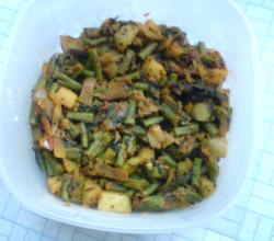 Methi leaves  curry with beans and aloo