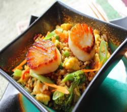 Egg Fried Rice with Sauted Scallops 