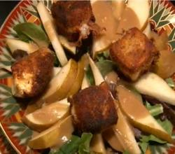 Fried Brie Green Salad With Pears