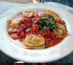 Goat Cheese Ravioli With Garlic Tomato Sauce