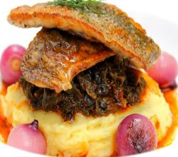Great Fish Dish with Braised Greens & Creamy Mash