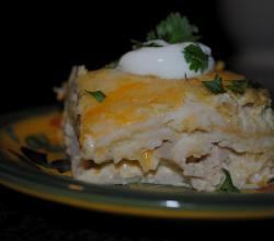 Green Chili and Chicken Enchilada Casserole