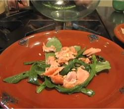 Green Salad with Smoked Salmon and Pine nut Hummus