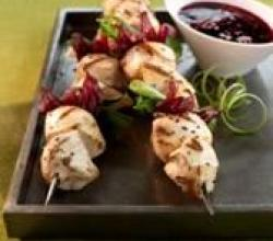 Grilled Chicken & Hibiscus Skewers with Sassy Ginger Dipping Sauce