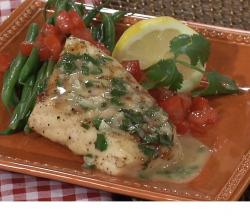 Grilled Halibut with Butter Wine Cilantro Sauce