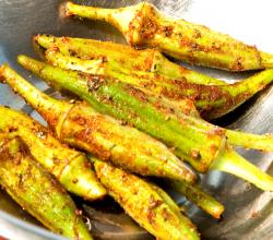 Grilled Okra with Remoulade Sauce