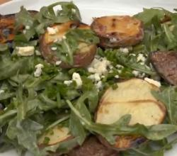 Grilled Potato with Blue Cheese and Arugula