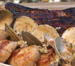 Grilled Rib Steak with Seared Scallops in Clam Sauce