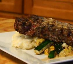 Grilled New York Strip with Beer Mustard Sauce