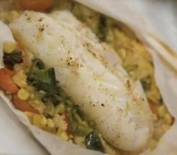 Halibut En Papillote with Faro Salad, Vegetable Medley
