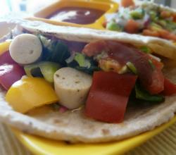 Healthy Roti Wrap with Roasted Sausage and Bell Peppers