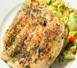 Herb Chicken Breast with Cucumber & Apple Salad