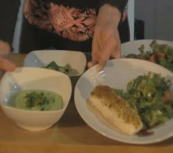 Herb Crusted Halibut with Chilled Avocado Soup and Green Salad