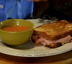 Grilled Ham and Cheese with Tomato Soup