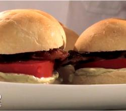 Bacon Tomato Sliders with Pesto Mayo