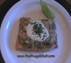 Tilapia Baked in Tomatillo Salsa and Savor Cream Sauce